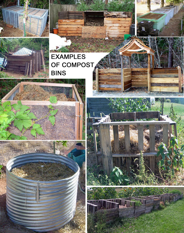 Various types of humanure compost bins.